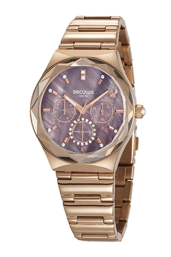 Relógio Feminino Seculus Pulseira de Aço Rose Gold Fundo Vermelho 13032LPSVRS2