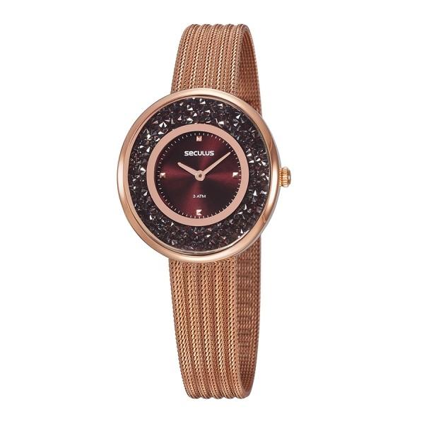 Relógio Feminino Seculus Pulseira de Aço Rose Gold Fundo Vermelho 13042LPSVRS6