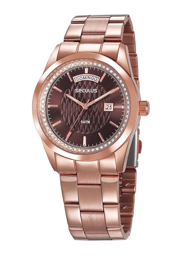 Relógio Feminino Seculus Pulseira de Aço Rose Gold Fundo Vermelho