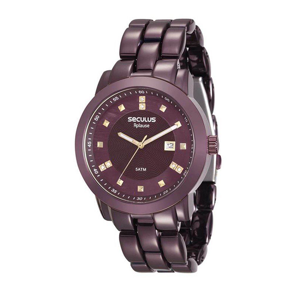 Relógio Feminino Seculus Pulseira de Aço Roxa Fundo Roxo