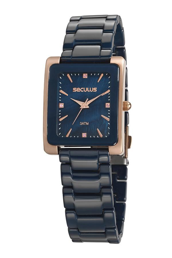 Relógio Feminino Seculus Pulseira de Cerâmica Azul Fundo Azul 20748LPSVRQ2