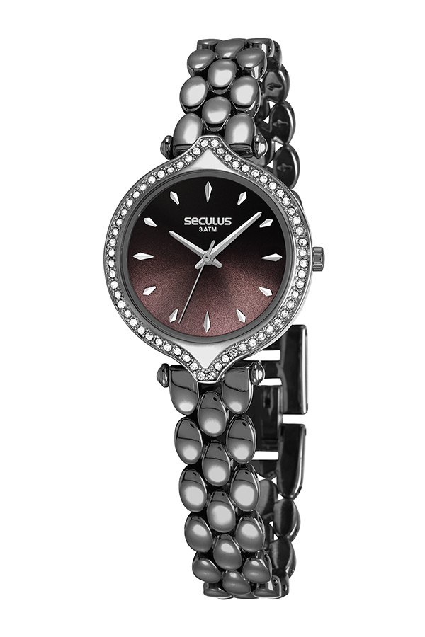 Relógio Feminino Seculus Pulseira de Metal Especial Preta Fundo Preto 13033LPSVSB2
