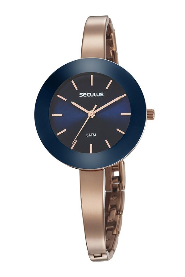 Relógio Feminino Seculus Pulseira de Metal Especial Rose Gold Fundo Azul 20749LPSVRQ1
