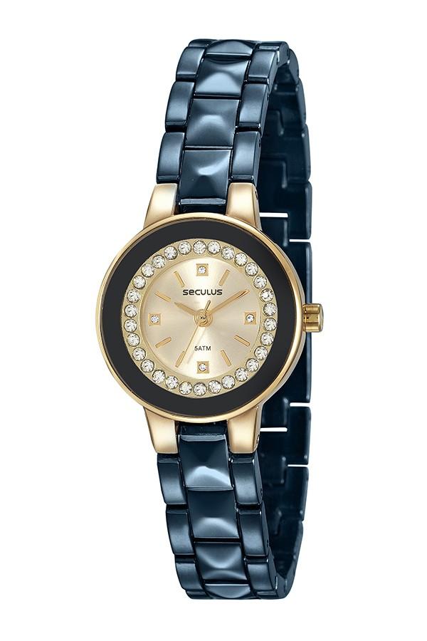 Relógio Feminino Seculus Pulseira de Metal Especial Rose Gold Fundo Champagne 23605LPSVLB1