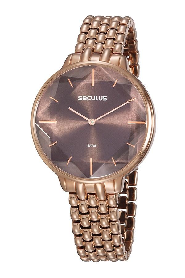 Relógio Feminino Seculus Pulseira de Metal Especial Rose Gold Fundo Marrom 77064LPSVRB2