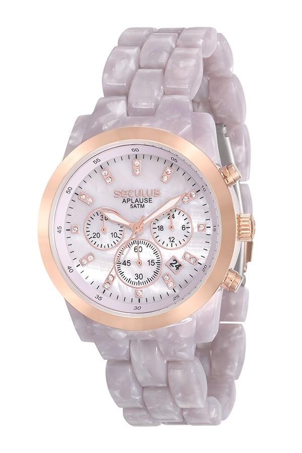 Relógio Feminino Seculus Pulseira de Resina Rosa Fundo Rosa 20628LPSVRF2