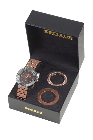Kit Relógio Feminino Seculus Rosé Kit Aro 20598lpsvrs1 C/ Nfe