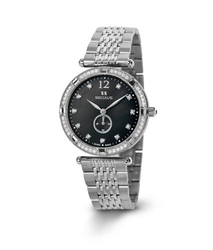 Relógio Feminino Seculus Swiss Made Pulseira de  Aço Coleção Coppelia 17041064MSSSTB