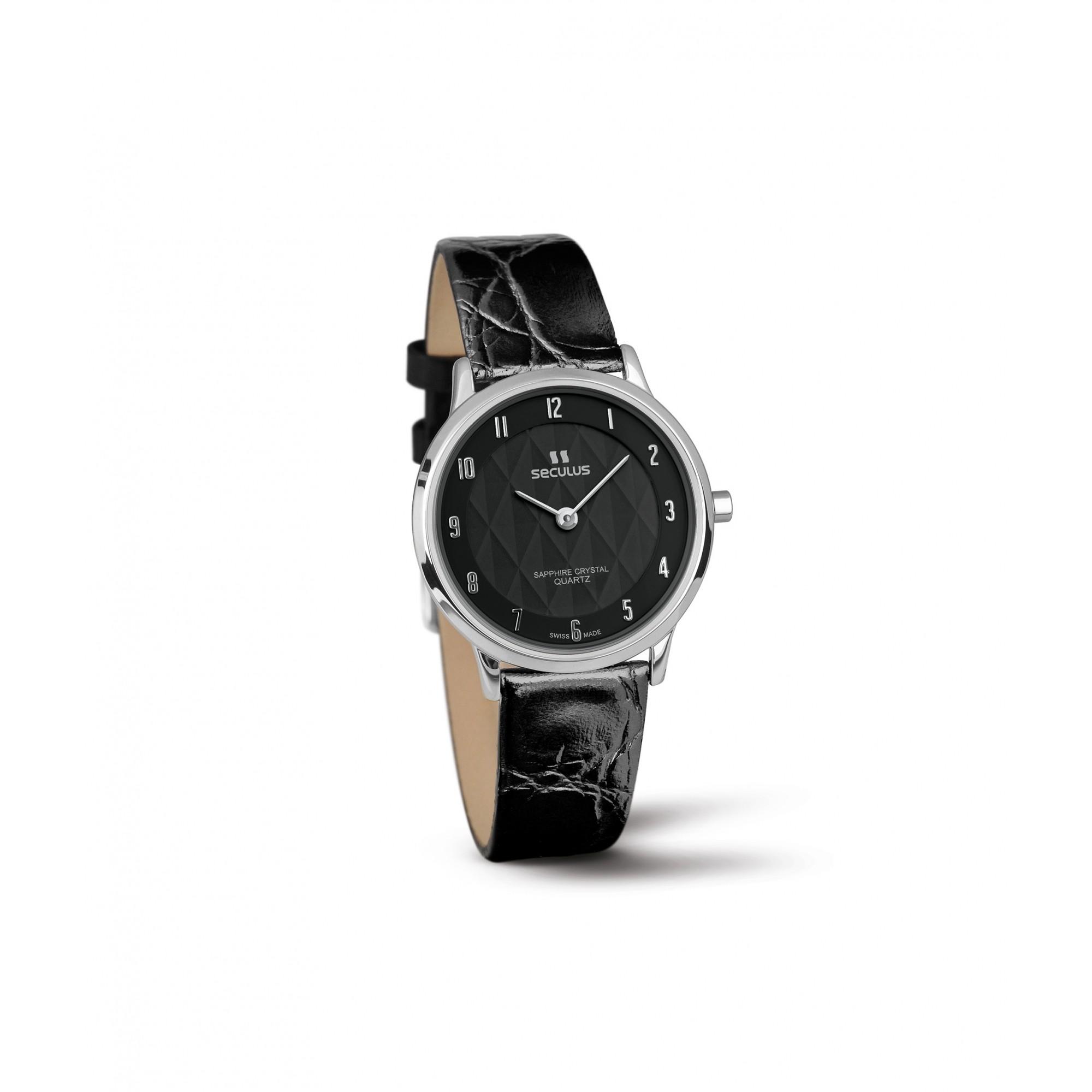 Relógio Feminino Seculus Swiss Made Pulseira de  Couro Coleção Flatline Fascination 16101106LBSSBA