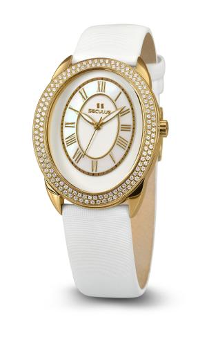 Relógio Feminino Seculus Swiss Made Pulseira de  Couro Coleção Diana 170151063LWSSW