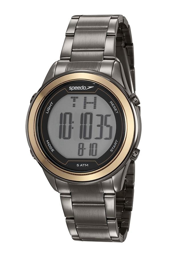 Relógio Feminino Speedo Pulseira de Aço Inoxidável Chumbo Fundo LCD Positivo