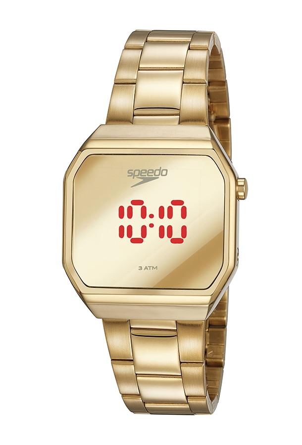 Relógio Feminino Speedo Pulseira de Aço Inoxidável Dourada Fundo Led 15020LPEVDE1