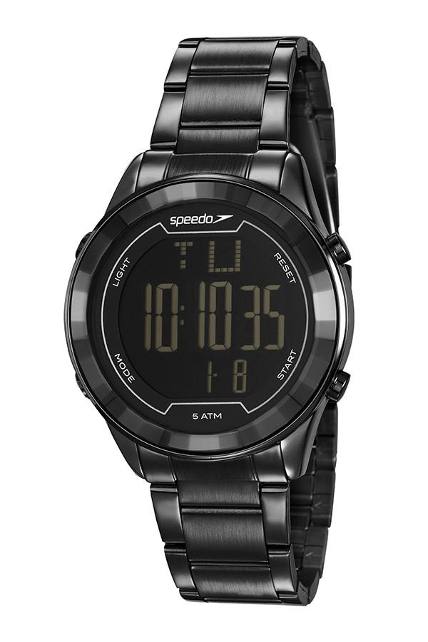 Relógio Feminino Speedo Pulseira de Aço Inoxidável Preta Fundo LCD Negativo 15010LPEVPE3