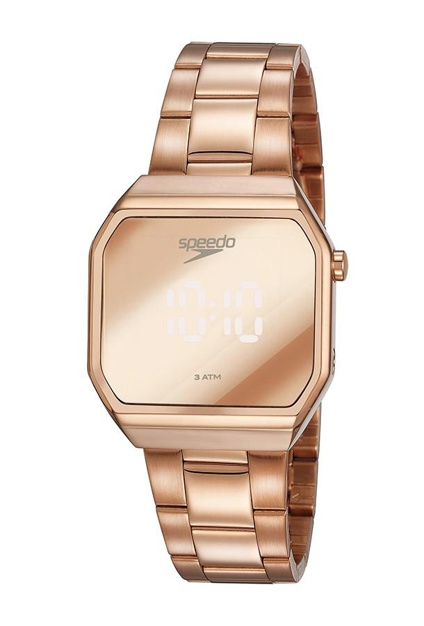 Relógio Feminino Speedo Pulseira de Aço Inoxidável Rose Gold Fundo Led