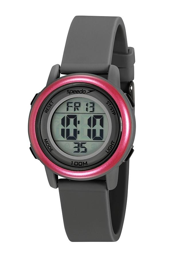 Relógio Feminino Speedo Pulseira de Poliuretano Cinza Fundo LCD Positivo 80651L0EVNP1