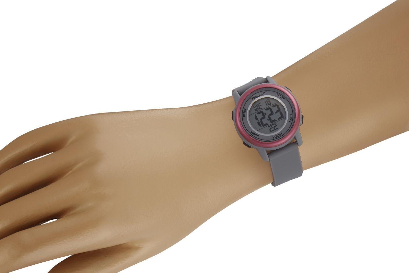 Relógio Feminino Speedo Pulseira de Poliuretano Cinza Fundo LCD Positivo