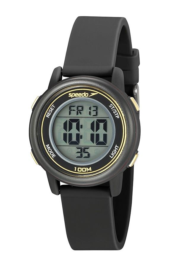 Relógio Feminino Speedo Pulseira de Poliuretano Preta Fundo LCD Positivo 80651L0EVNP2