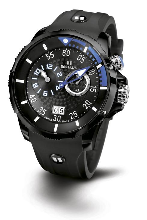 Relógio Masculino Esportivo Seculus Swiss Made 4505422SILBBA Pulseira de poliuretano e vidro de Safira com 02 anos de Garantia
