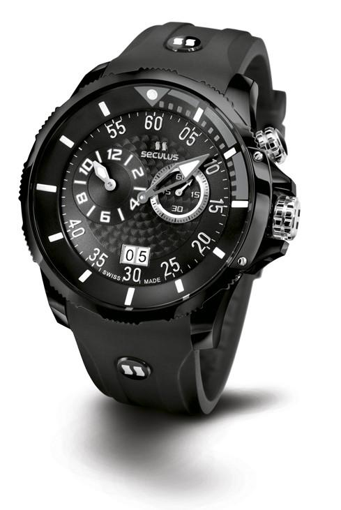 Relógio Masculino Esportivo Seculus Swiss Made 4505422SILBBGR Pulseira de poliuretano e vidro de Safira com 02 anos de Garantia