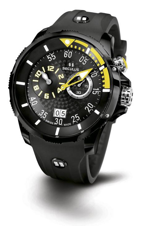 Relógio Masculino Esportivo Seculus Swiss Made 4505422SILBBY Pulseira de poliuretano e vidro de Safira com 02 anos de Garantia