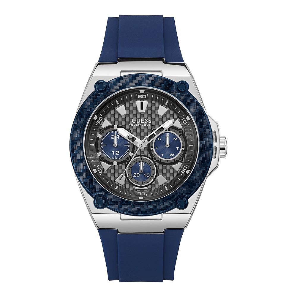 Relógio Masculino Guess Watches Pulseira de Esportivo Azul Fundo Cinza
