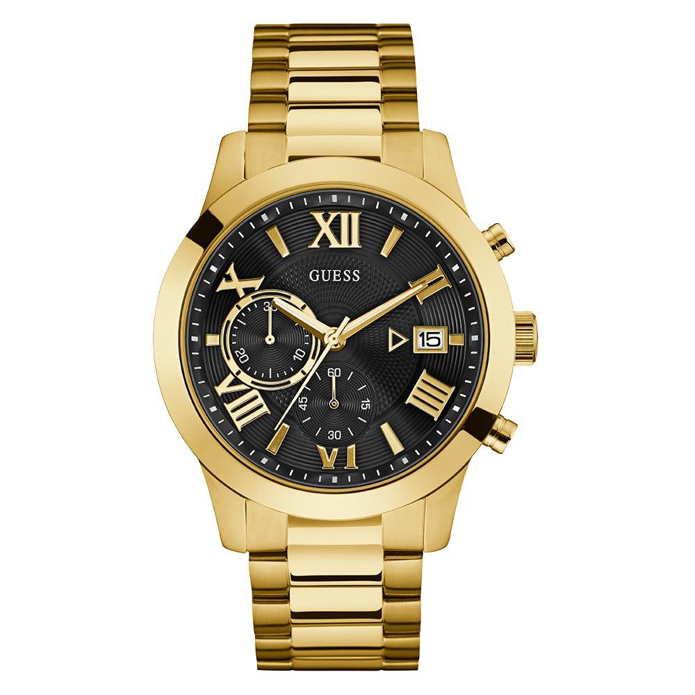 Relógio Masculino Guess Pulseira de Aço Dourado Fundo Preto 92722GPGDDA6