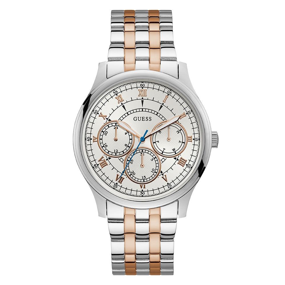 Relógio Masculino Guess Pulseira de Aço Prata & Rose Gold Fundo Branco 92724GPGDGA1