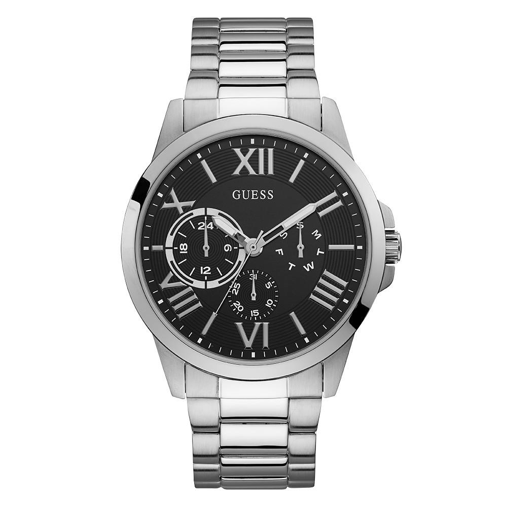 Relógio Masculino Guess Pulseira de Aço Prata Fundo Preto 92727G0GDNA1