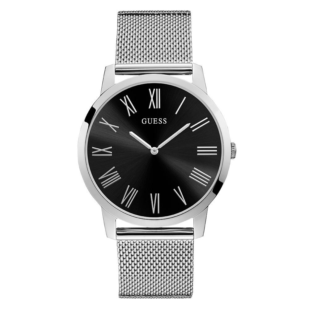 Relógio Masculino Guess Pulseira de Aço Prata Fundo Preto 92731G0GDNA2