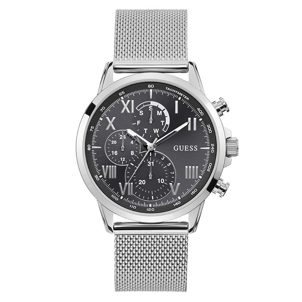 Relógio Masculino Guess Pulseira de Aço Prata Fundo Preto 92765G0GDNA1