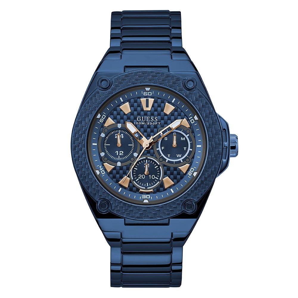 Relógio Masculino Guess Watches Pulseira de Aço Azul Fundo Azul