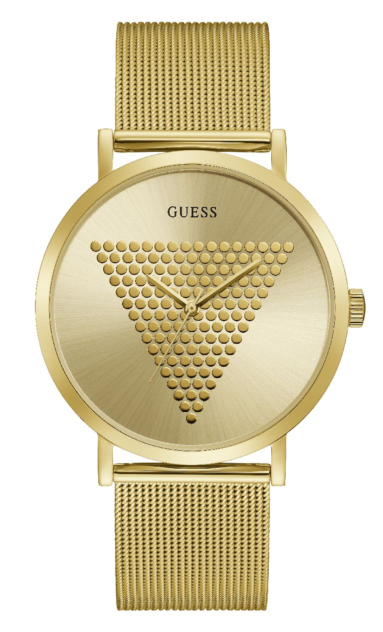 Relógio Masculino Guess Watches Pulseira de Aço Dourado Fundo Champanhe