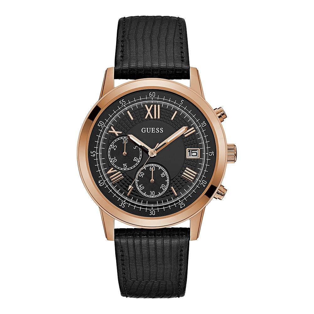 Relógio Masculino Guess Pulseira de Couro Preto Fundo Preto 92680GPGDRC6