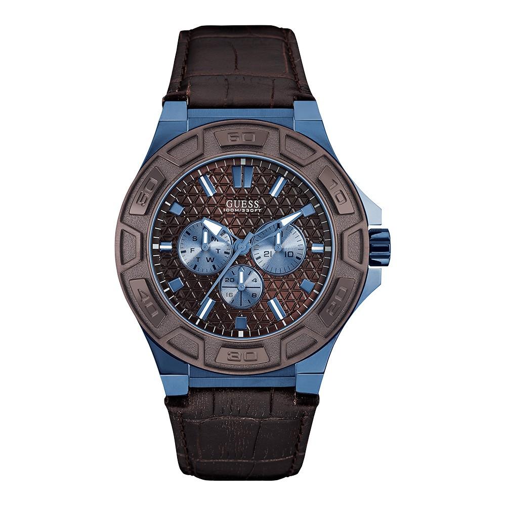 Relógio Masculino Guess Watches Pulseira de Couro Marrom Fundo Marrom