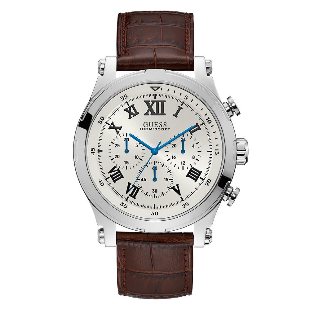 Relógio Masculino Guess Pulseira de Couro Marrom Fundo Branco 92700G0GSNC3