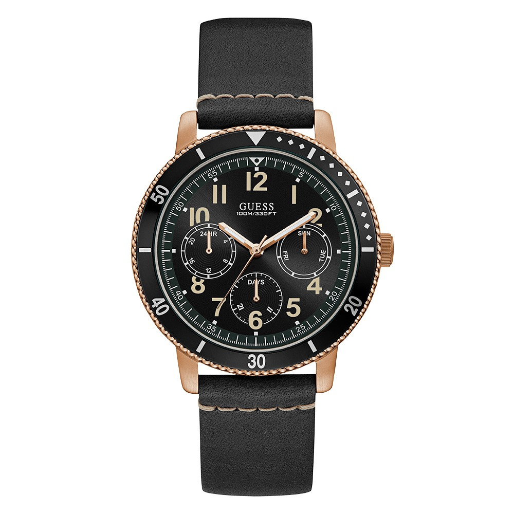 Relógio Masculino Guess Watches Pulseira de Couro Preto Fundo Preto