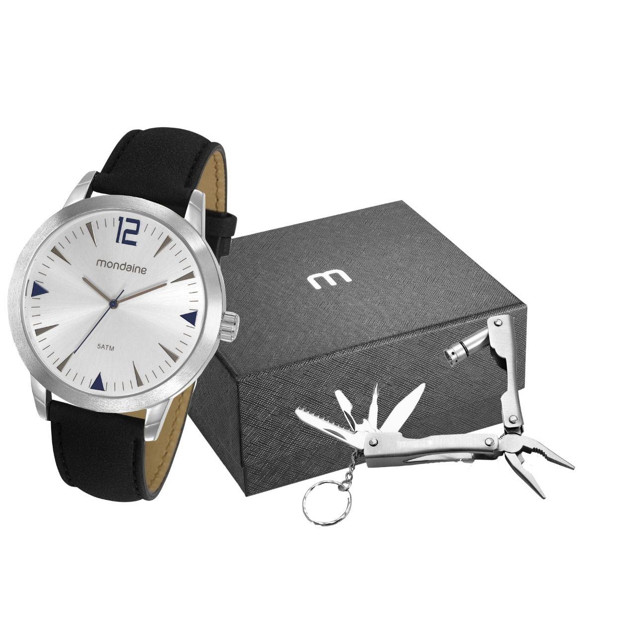 Kit Relógio Masculino Mondaine Pulseira de Couro Sintético Preto Fundo Prata e Chaveiro Multifunção 53810G0MGNH7K1