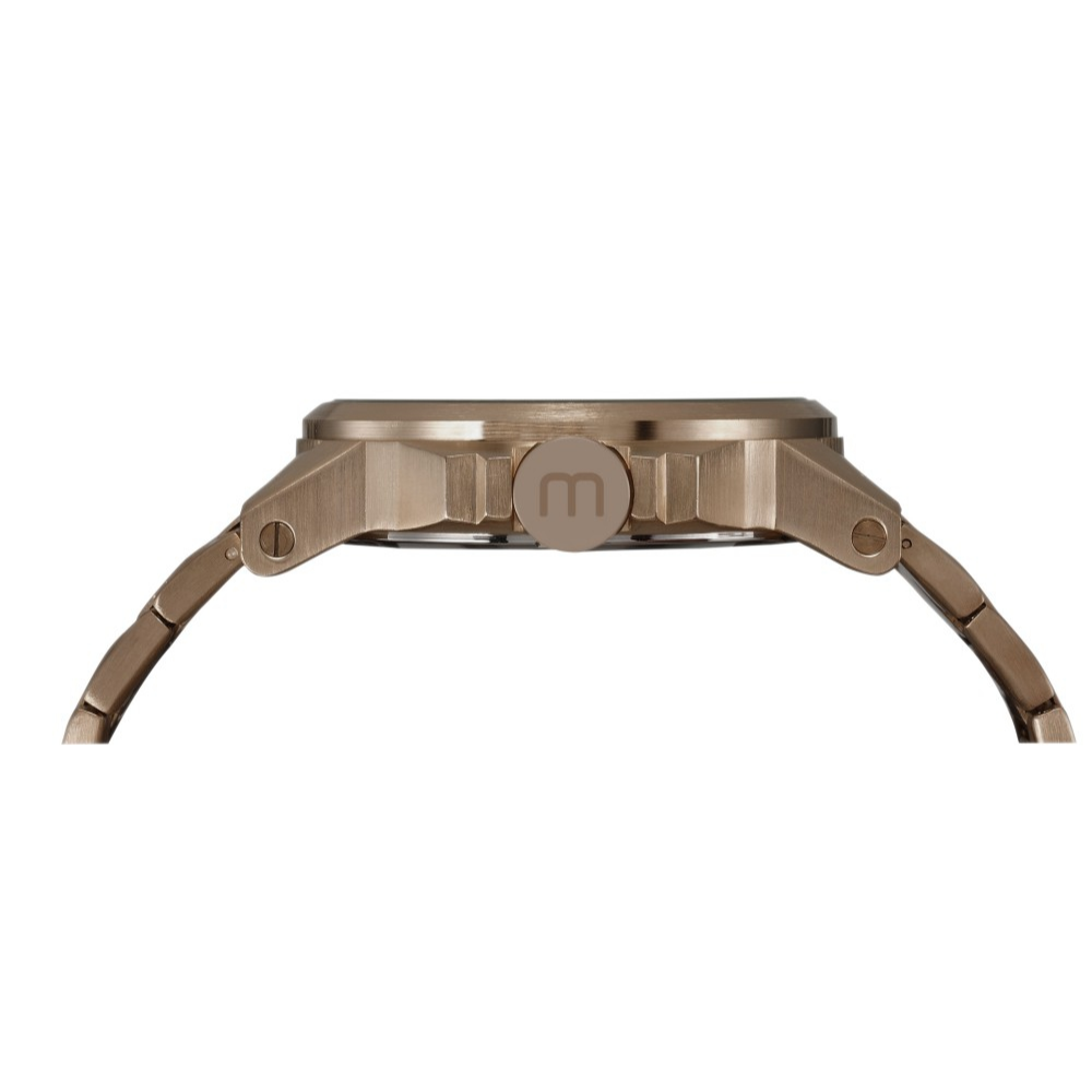 Relógio Masculino Mondaine Pulseira de Aço Inoxidável Marrom Fundo Preto
