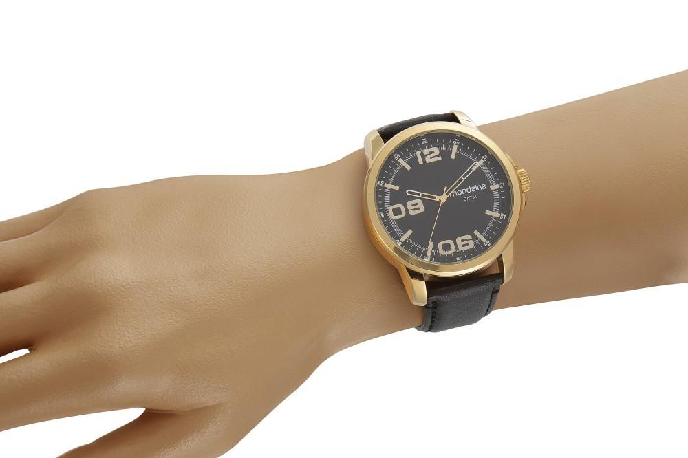Relógio Masculino Mondaine Pulseira de Aço Inoxidável Prata Fundo Prata