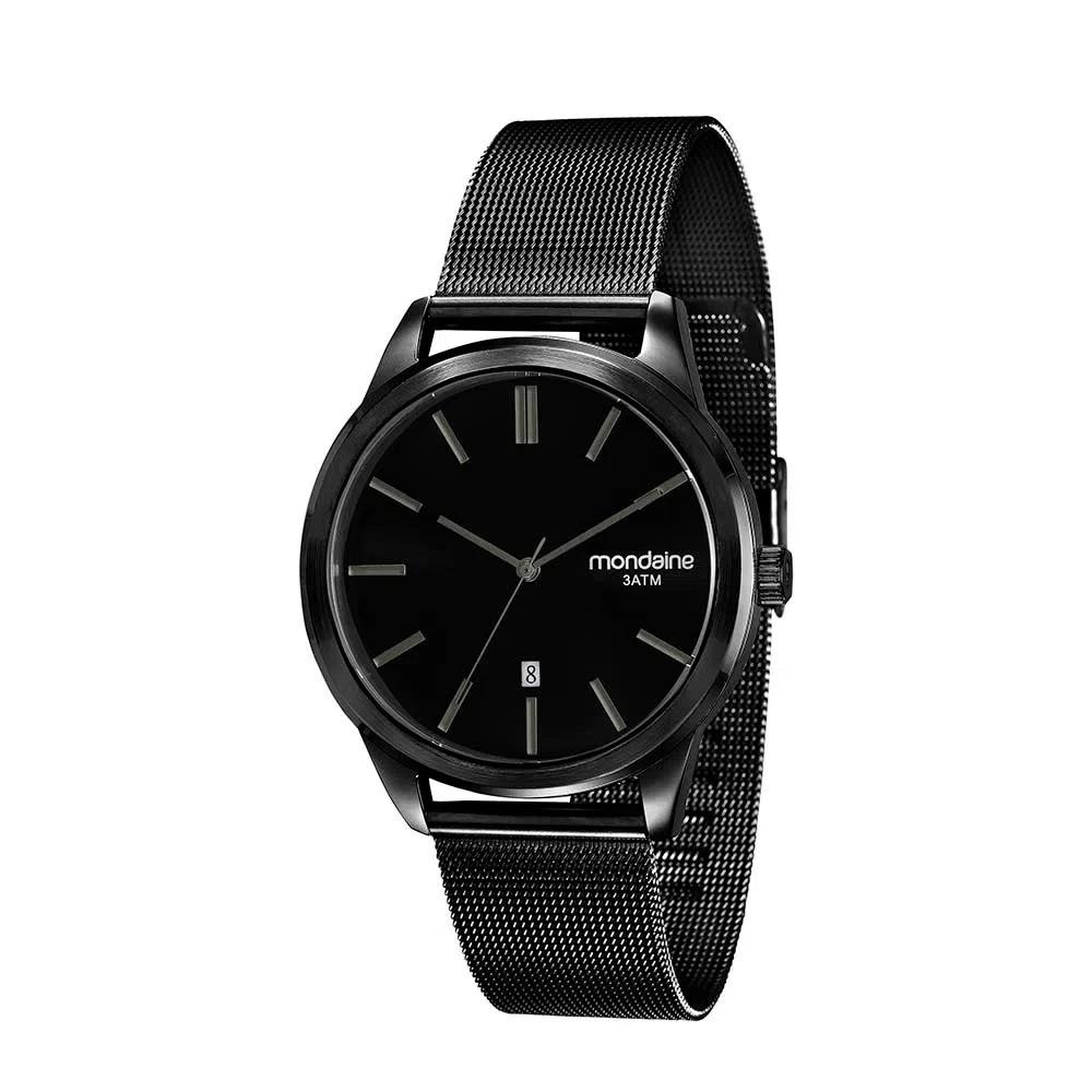 Relógio Masculino Mondaine Pulseira de Aço Inoxidável Preto Fundo Preto 83365GPMVPS1