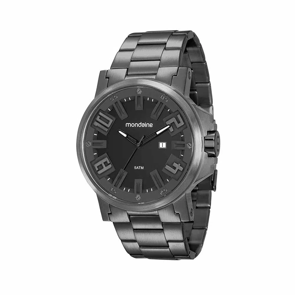 Relógio Masculino Mondaine Pulseira de Aço Inoxidável Preto Fundo Preto