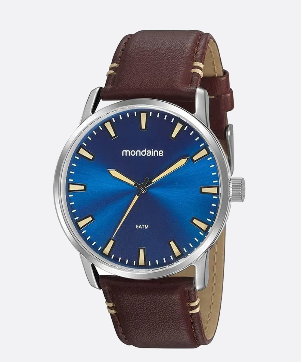 Relógio Masculino Mondaine Pulseira de Couro Sintético Marrom Fundo Azul