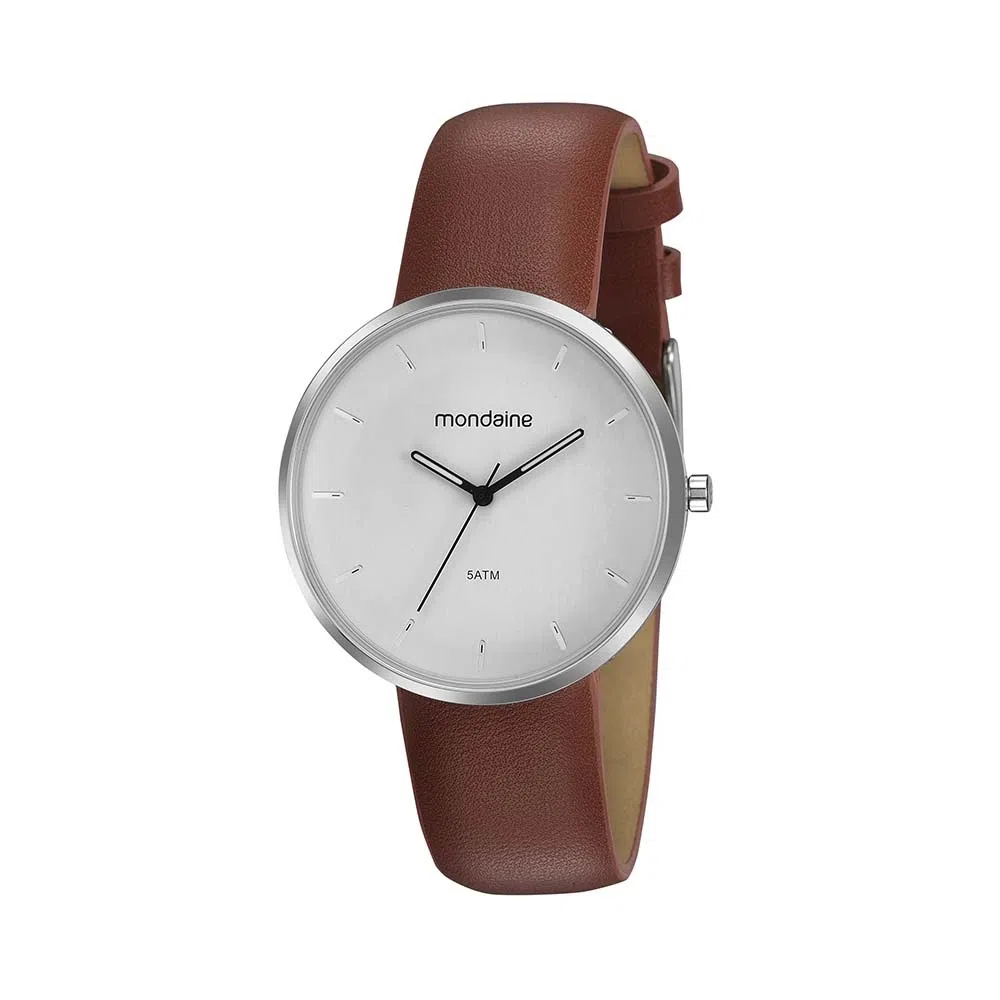 Relógio Masculino Mondaine Pulseira de Couro Sintético Marrom Fundo Branco