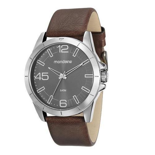 Relógio Masculino Mondaine Pulseira de Couro Sintético Marrom Fundo Cinza 76656G0MVNH3