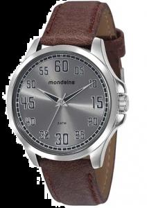 Relógio Masculino Mondaine Pulseira de Couro Sintético Marrom Fundo Cinza