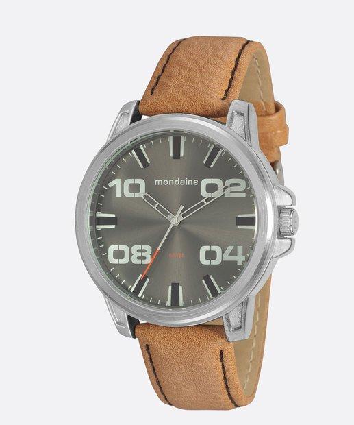 Relógio Masculino Mondaine Pulseira de Couro Sintético Marrom Fundo Cinza 76753G0MVNH1