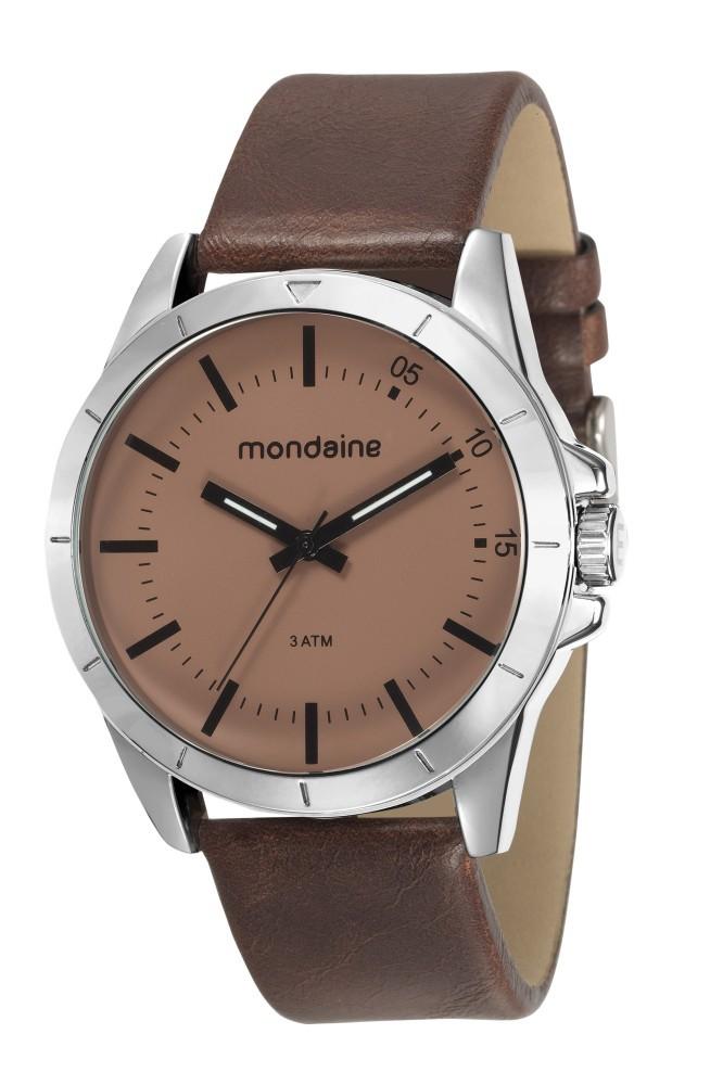 Relógio Masculino Mondaine Pulseira de Couro Sintético  Marrom Fundo Marrom 76701G0MVNH2