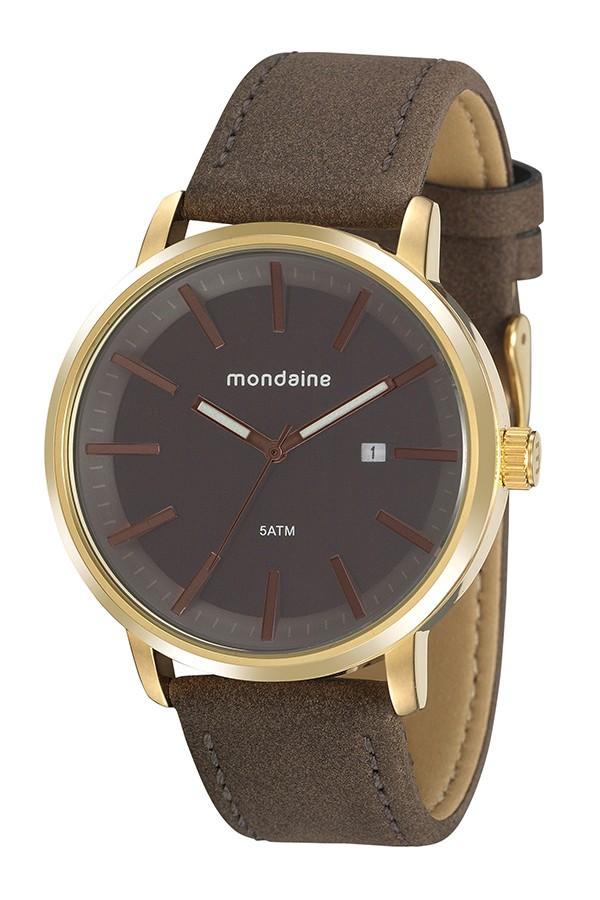 Relógio Masculino Mondaine Pulseira de Couro Sintético Marrom Fundo Marrom 76765GPMVDH2