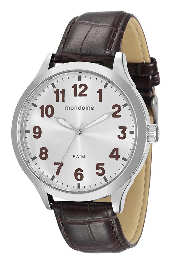 Relógio Masculino Mondaine Pulseira de Couro Sintético Marrom Fundo Prata 76659G0MVNH4