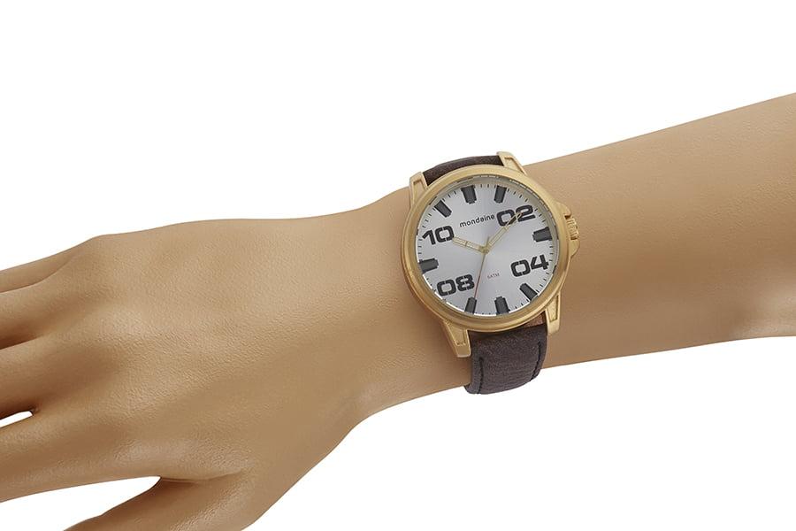 Relógio Masculino Mondaine Pulseira de Couro Sintético Marrom Fundo Prata 76753GPMVDH2